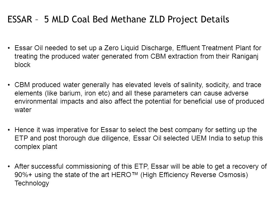 ESSAR – 5 MLD Coal Bed Methane ZLD Project Details