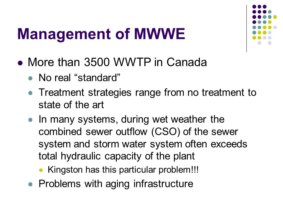 Management of MWWE More than 3500 WWTP in Canada No real standard