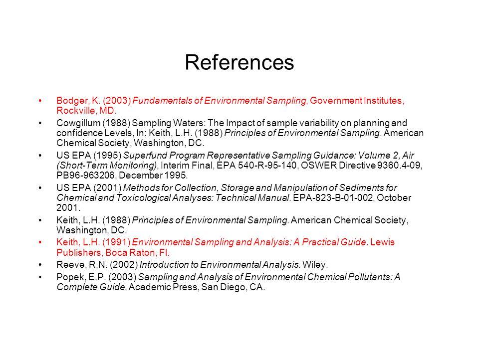References Bodger, K. (2003) Fundamentals of Environmental Sampling, Government Institutes, Rockville, MD.