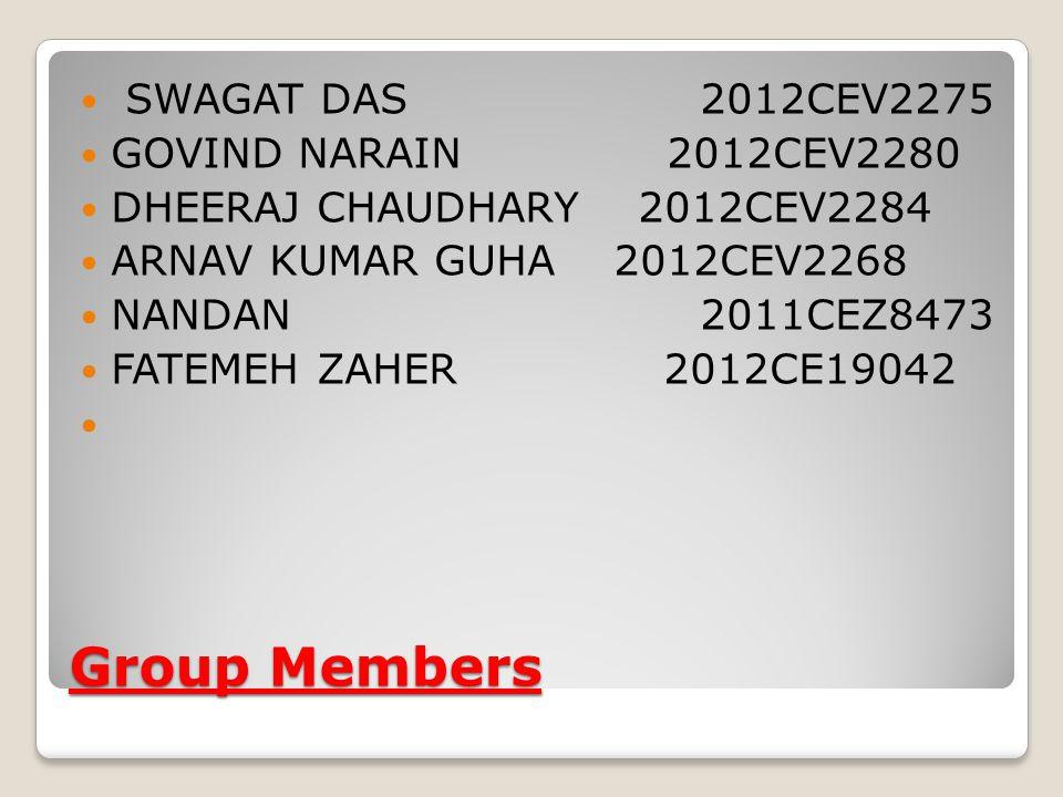 Group Members SWAGAT DAS 2012CEV2275 GOVIND NARAIN 2012CEV2280