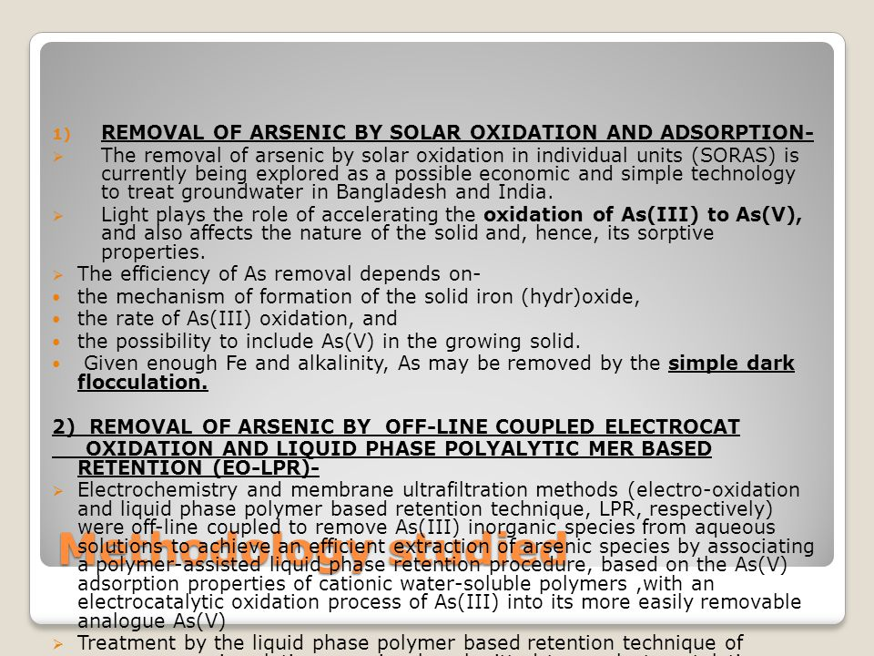 REMOVAL OF ARSENIC BY SOLAR OXIDATION AND ADSORPTION-