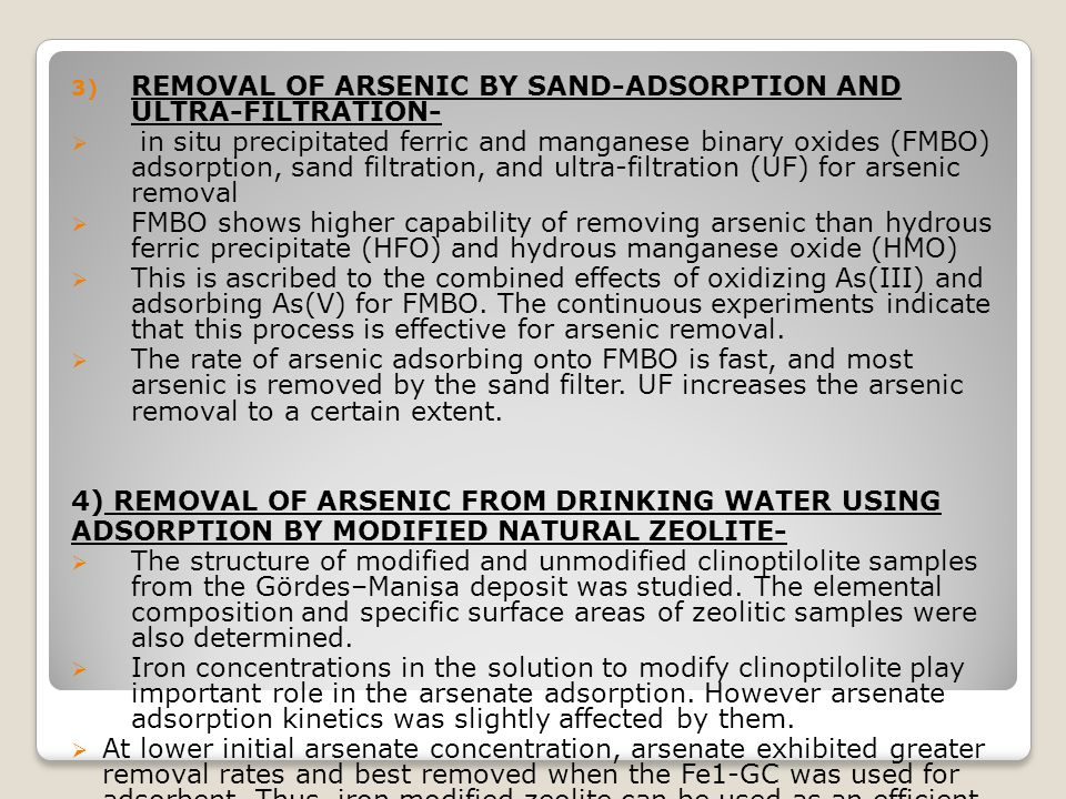REMOVAL OF ARSENIC BY SAND-ADSORPTION AND ULTRA-FILTRATION-