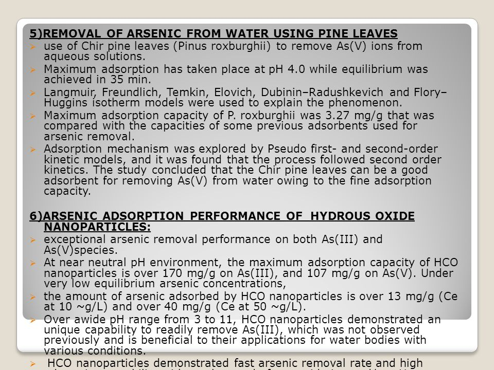 5)REMOVAL OF ARSENIC FROM WATER USING PINE LEAVES