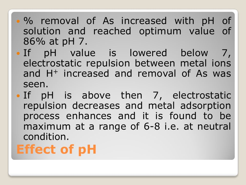 % removal of As increased with pH of solution and reached optimum value of 86% at pH 7.