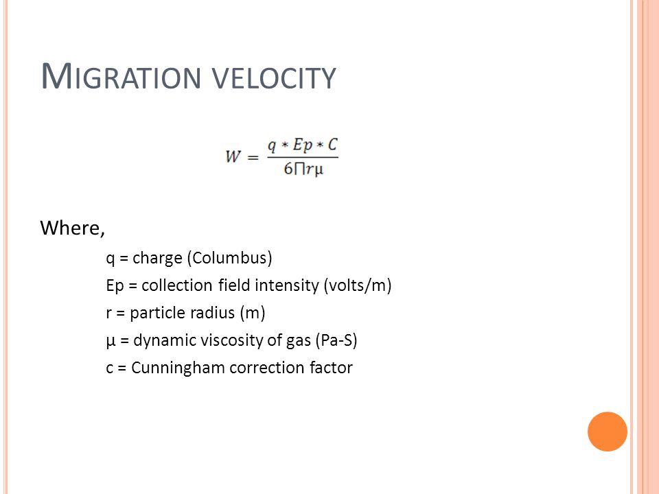 Migration velocity Where, q = charge (Columbus)