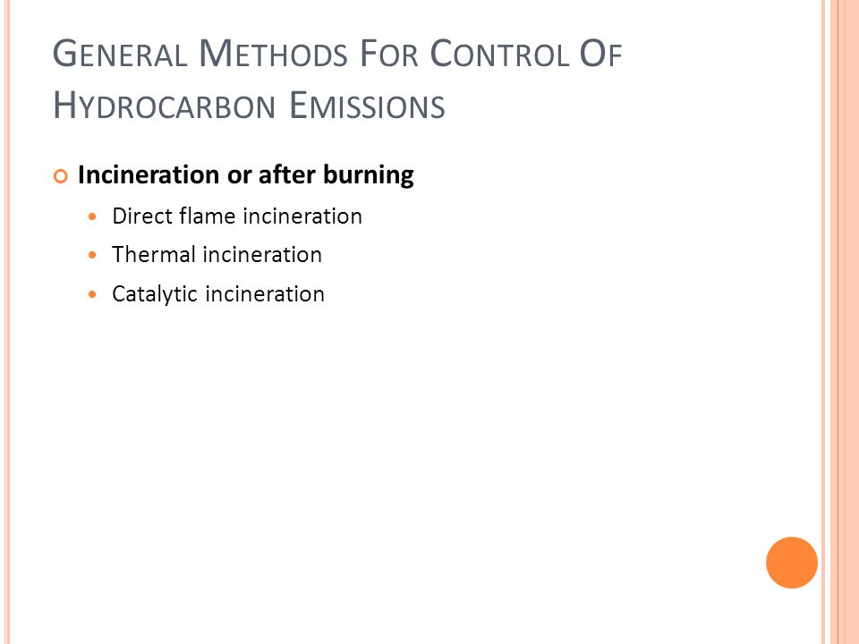 General Methods For Control Of Hydrocarbon Emissions