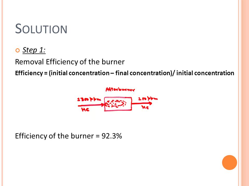 Solution Step 1: Removal Efficiency of the burner