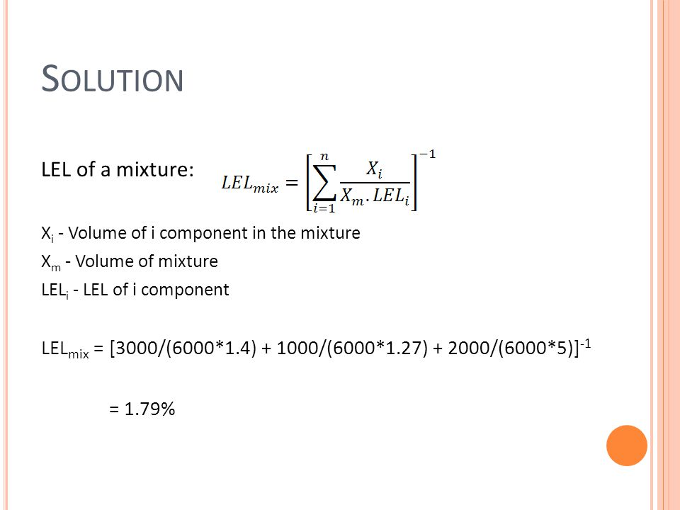 Solution LEL of a mixture: