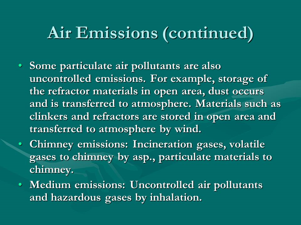 Air Emissions (continued)