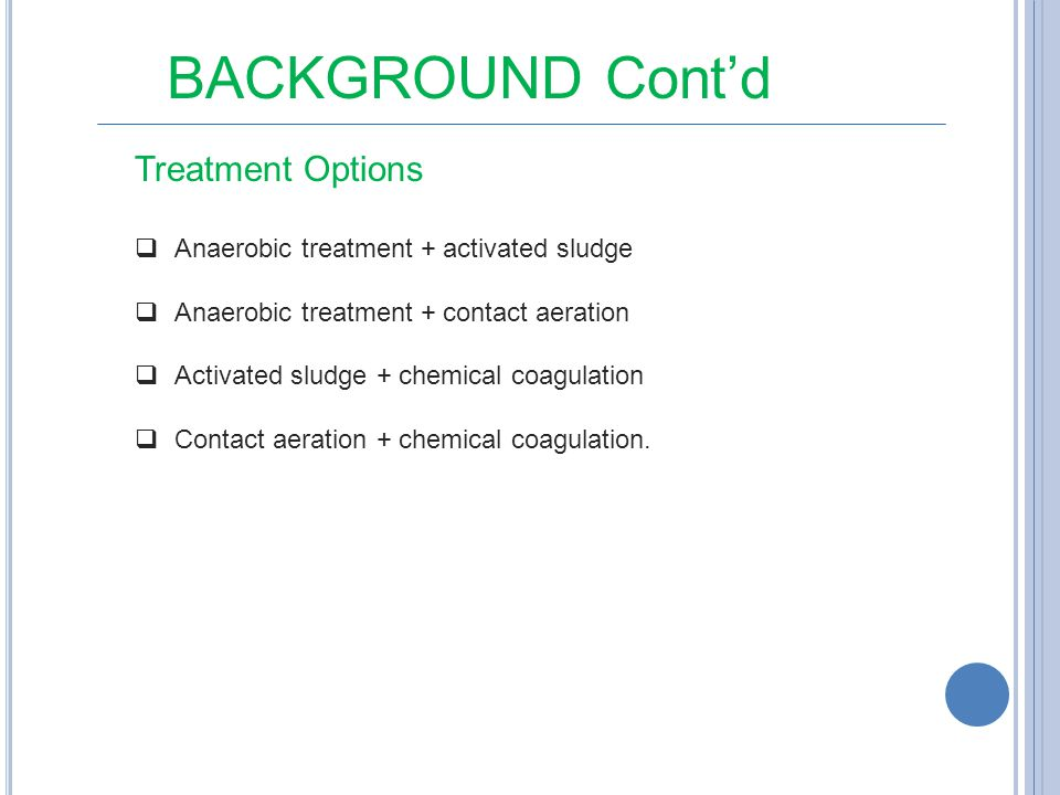 BACKGROUND Cont'd Treatment Options