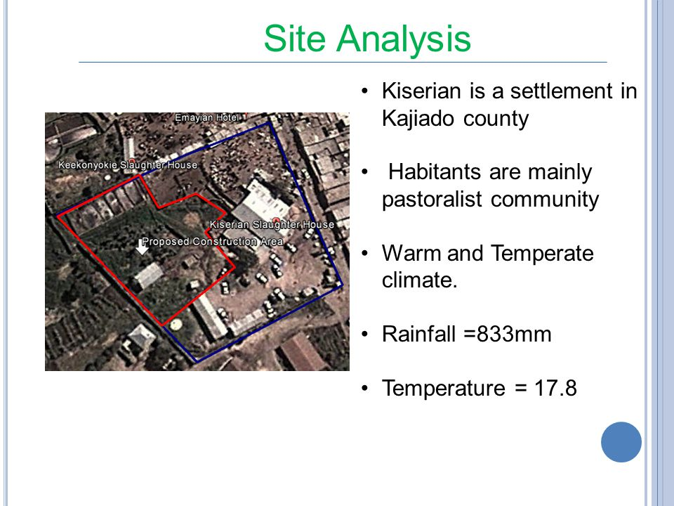 Site Analysis Kiserian is a settlement in Kajiado county