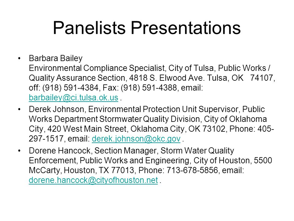 Panelists Presentations