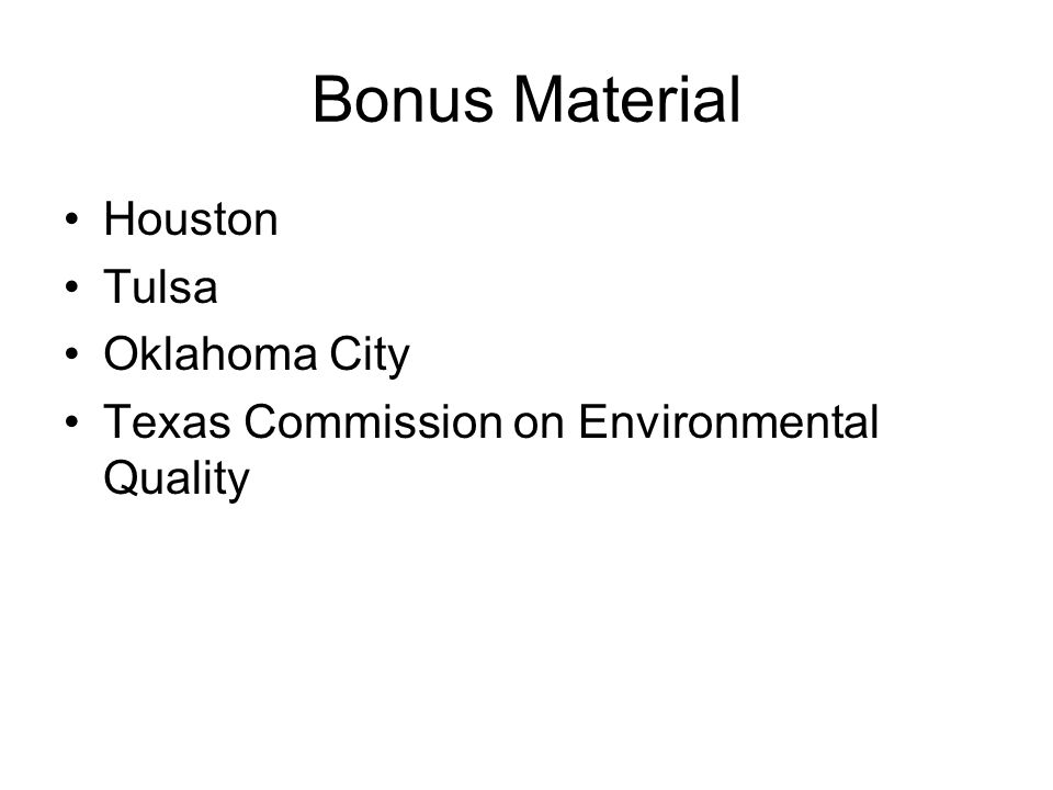 Bonus Material Houston Tulsa Oklahoma City