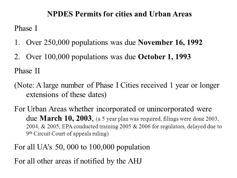 NPDES Permits for cities and Urban Areas