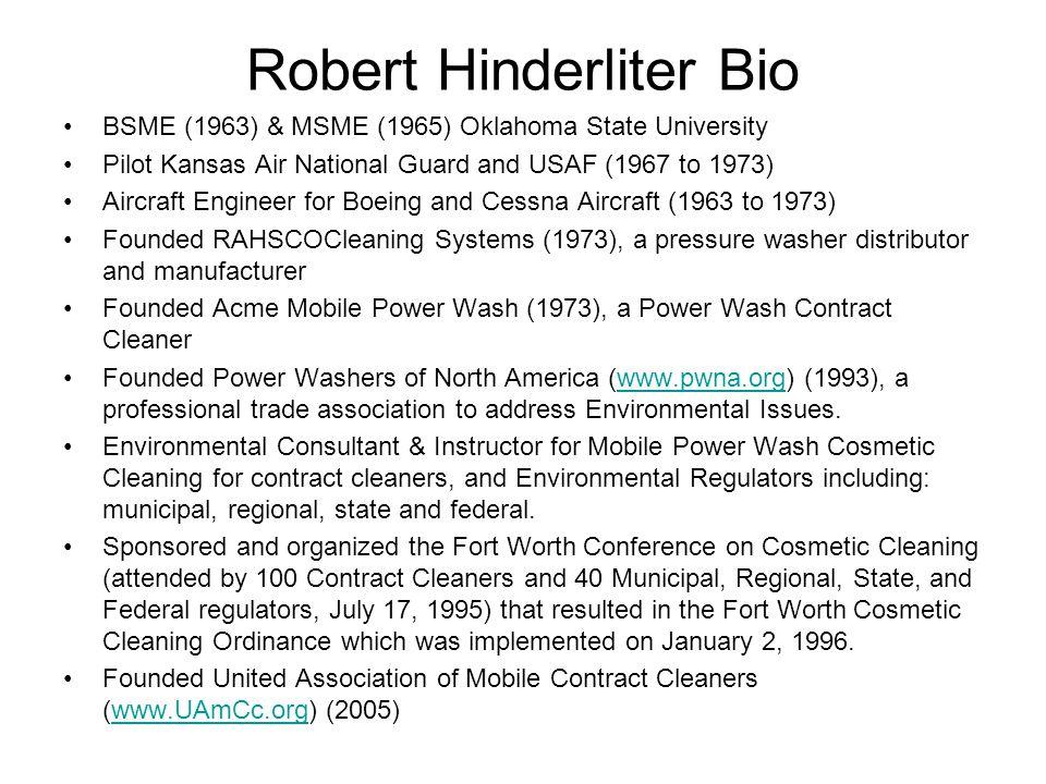 Robert Hinderliter Bio