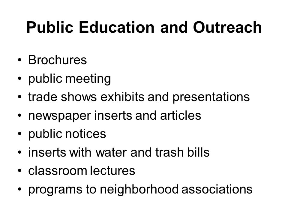 Public Education and Outreach