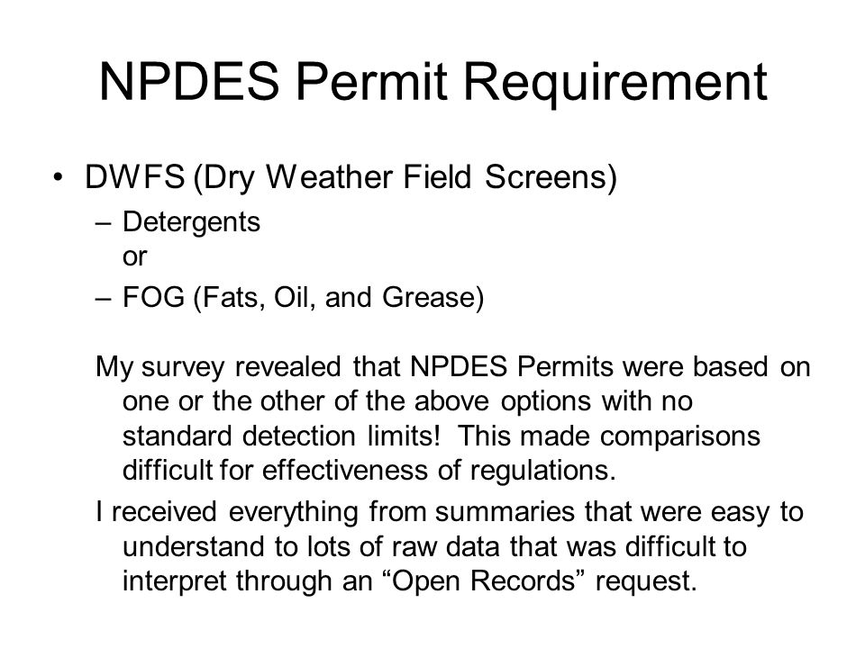 NPDES Permit Requirement