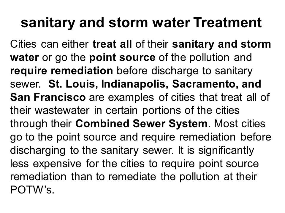 sanitary and storm water Treatment