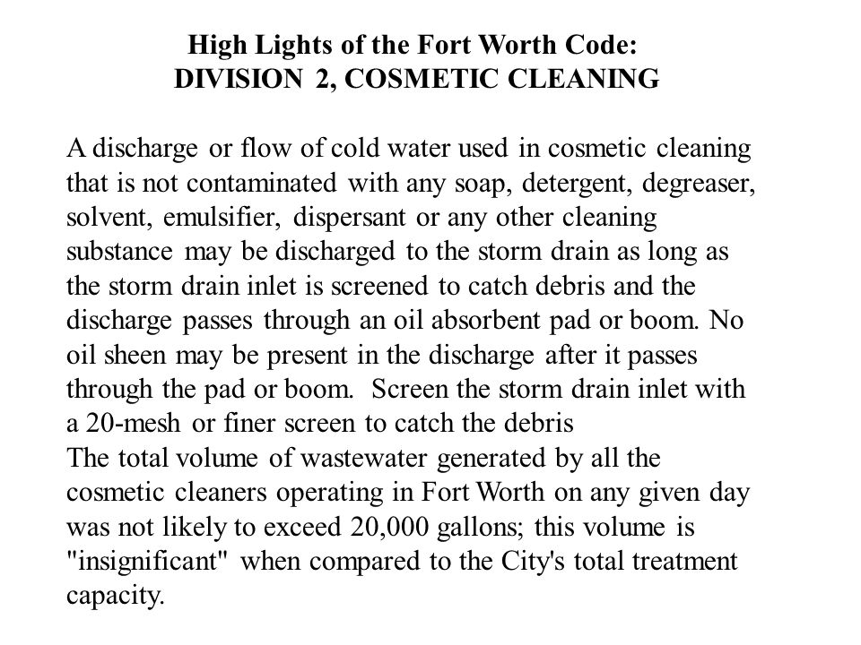 High Lights of the Fort Worth Code: