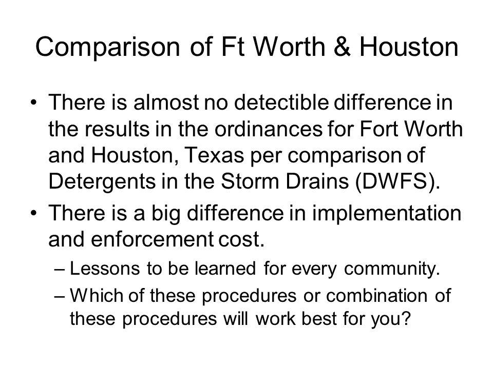 Comparison of Ft Worth & Houston