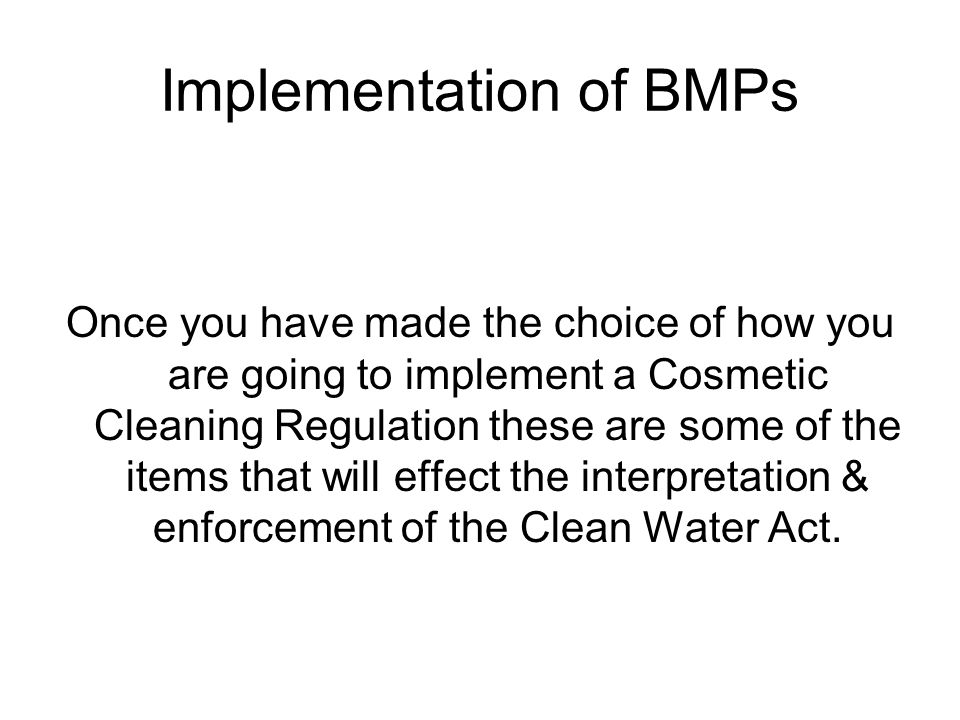 Implementation of BMPs