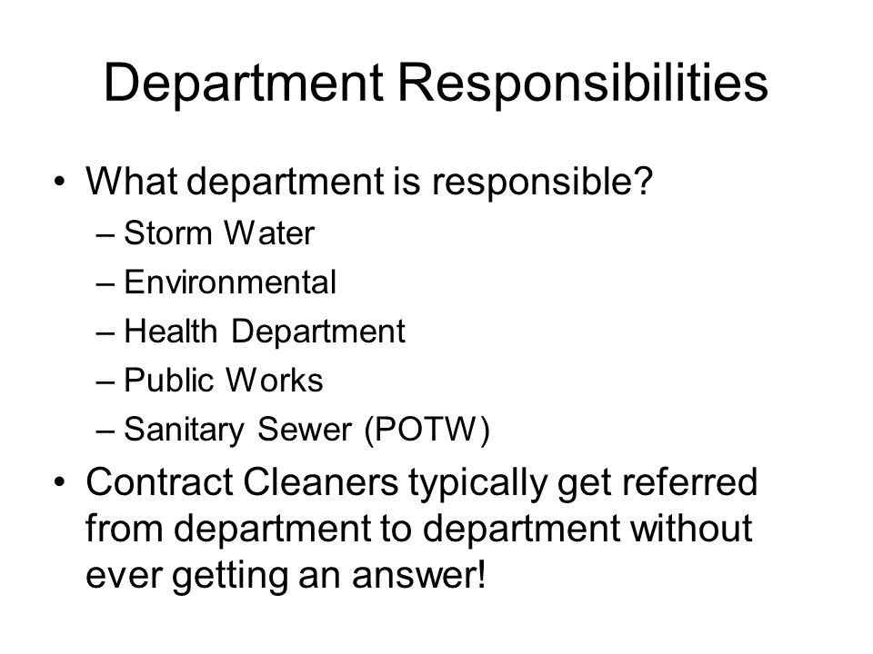 Department Responsibilities