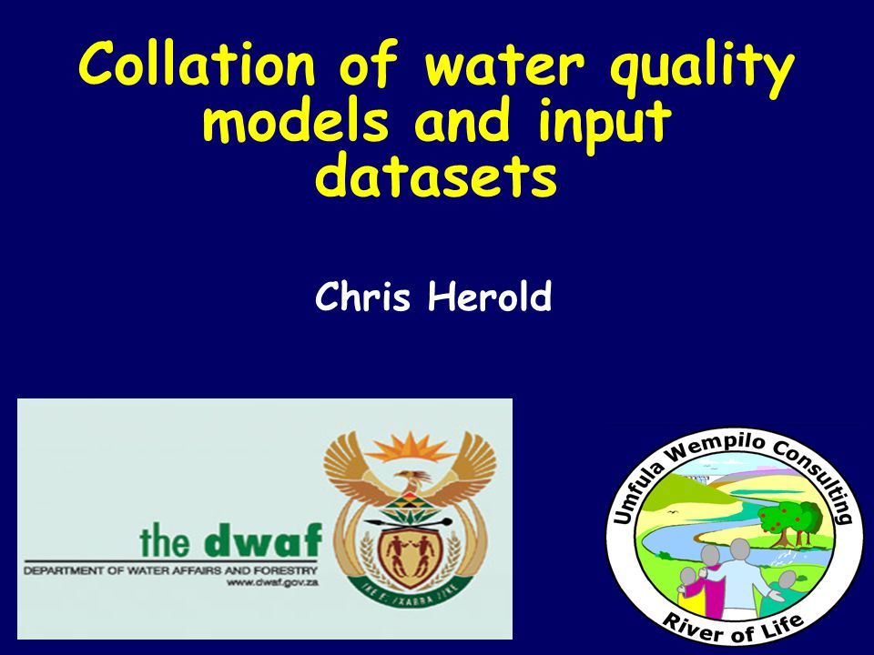 Collation of water quality models and input datasets