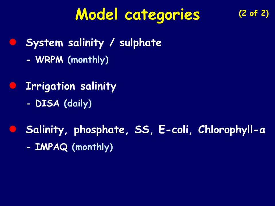 Model categories • System salinity / sulphate • Irrigation salinity