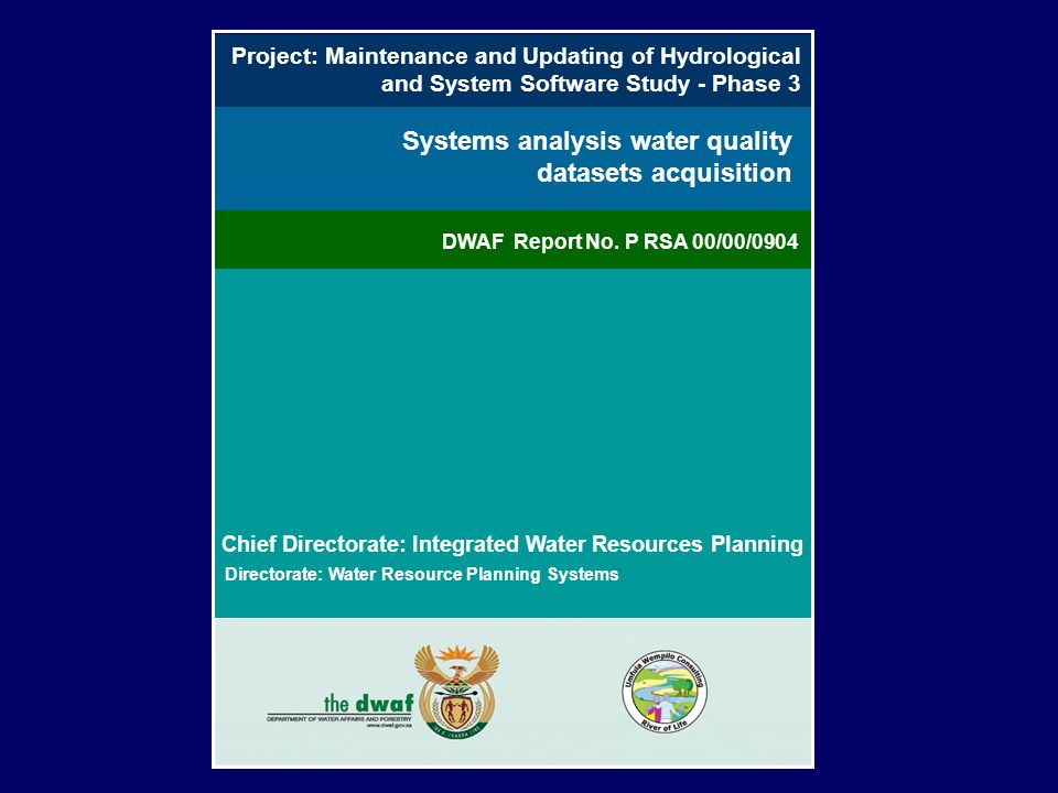 Systems analysis water quality datasets acquisition