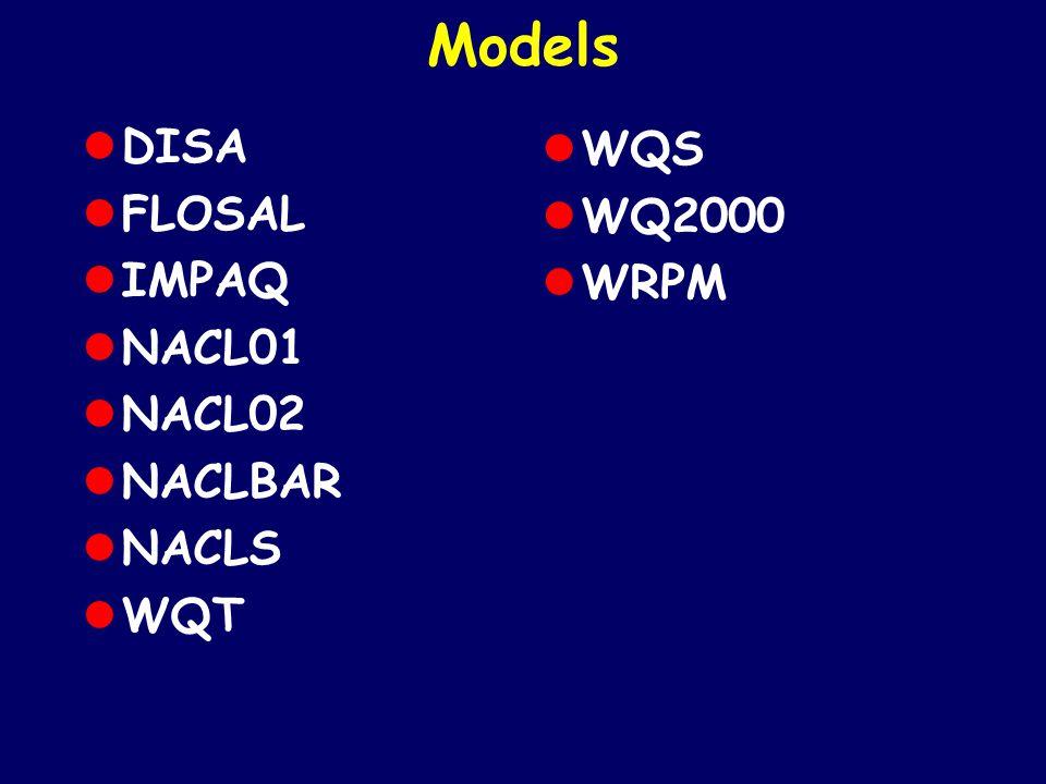 Models DISA WQS FLOSAL WQ2000 IMPAQ WRPM NACL01 NACL02 NACLBAR NACLS