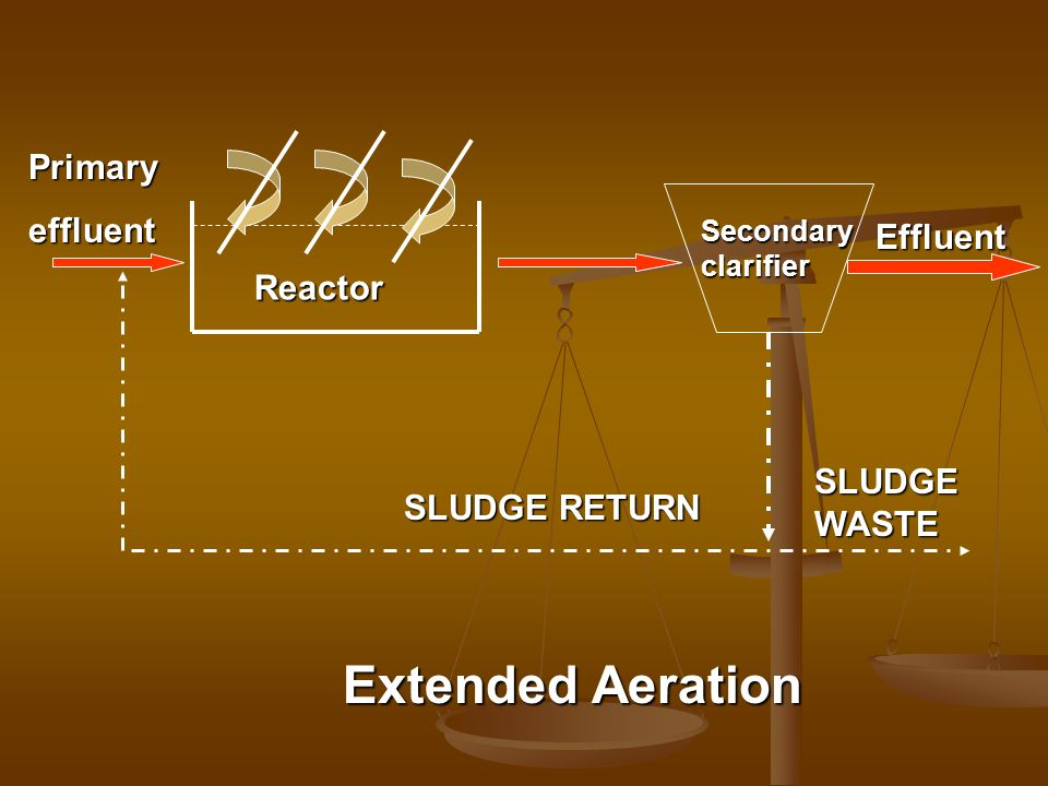 Extended Aeration Primary effluent Effluent Reactor SLUDGE WASTE