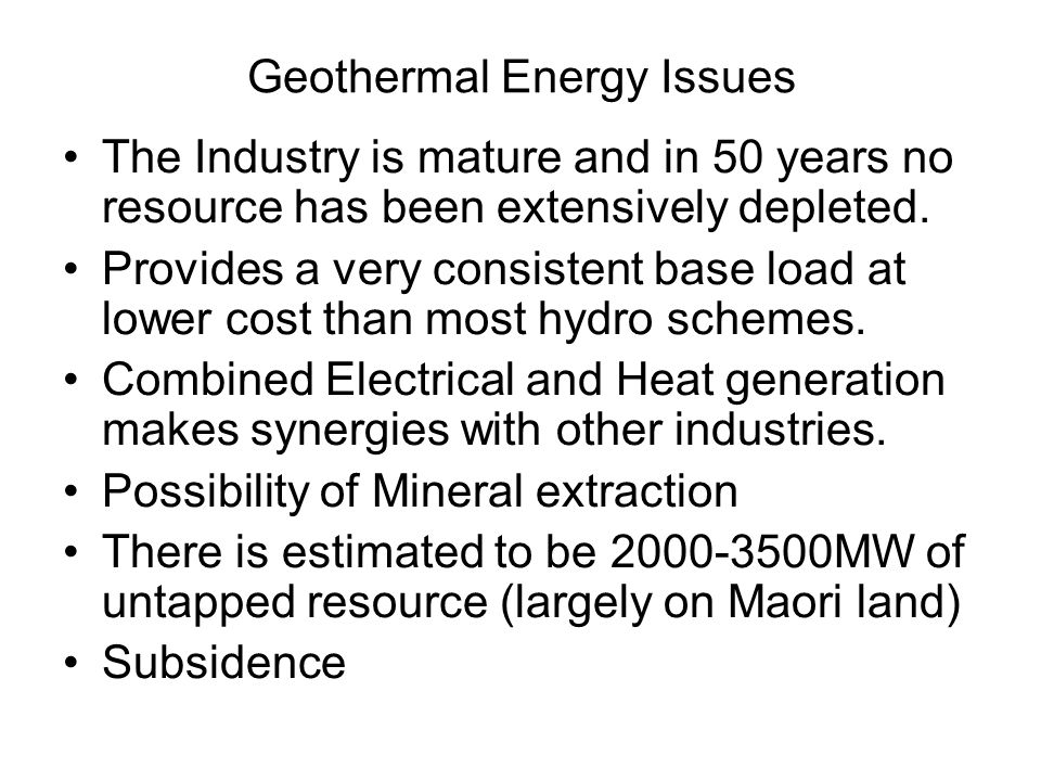 Geothermal Energy Issues