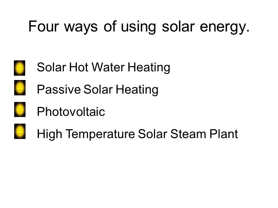 Four ways of using solar energy.