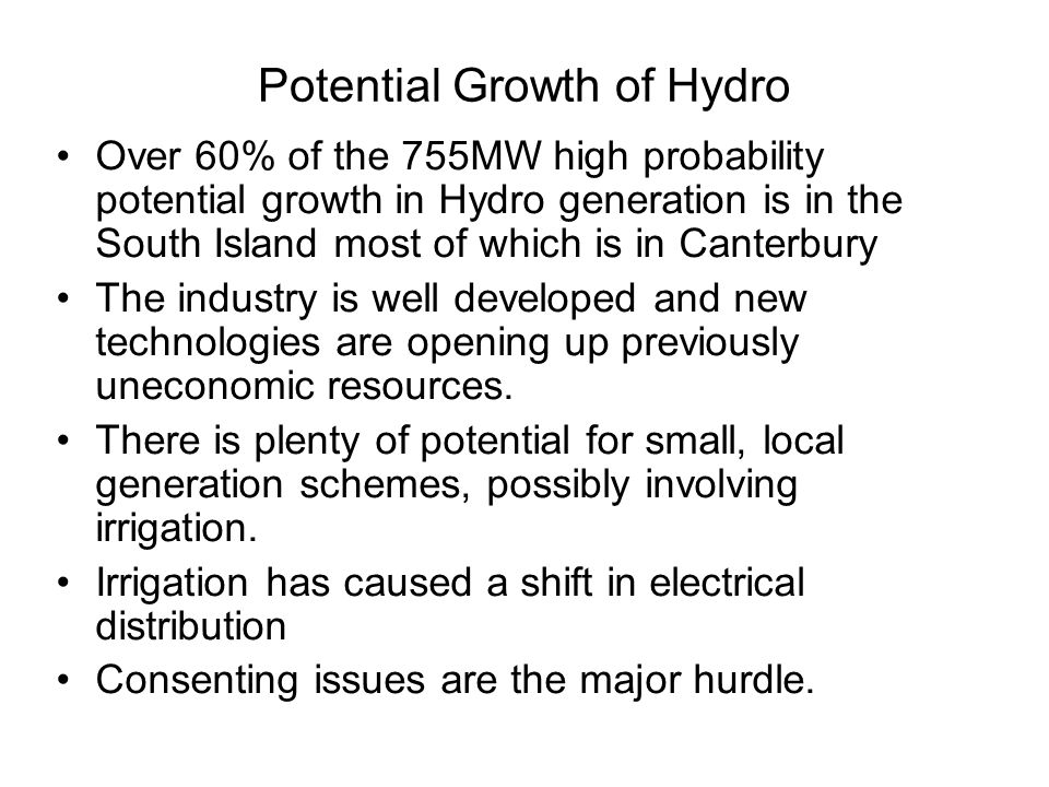 Potential Growth of Hydro