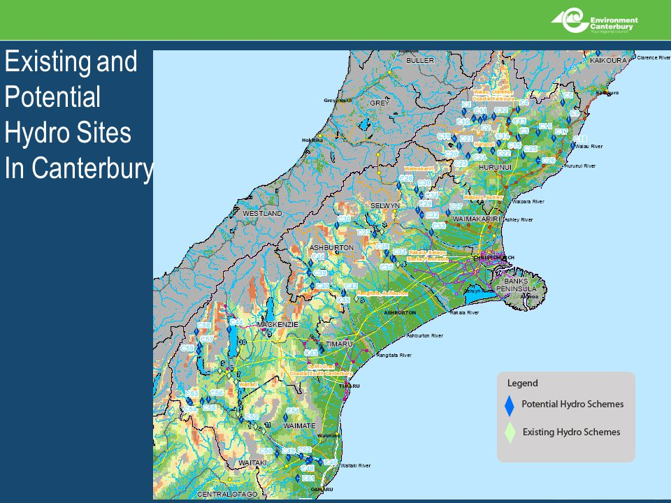Existing and Potential Hydro Sites In Canterbury
