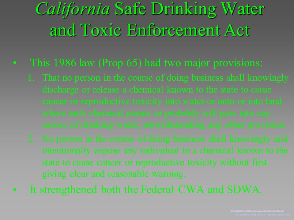 California Safe Drinking Water and Toxic Enforcement Act