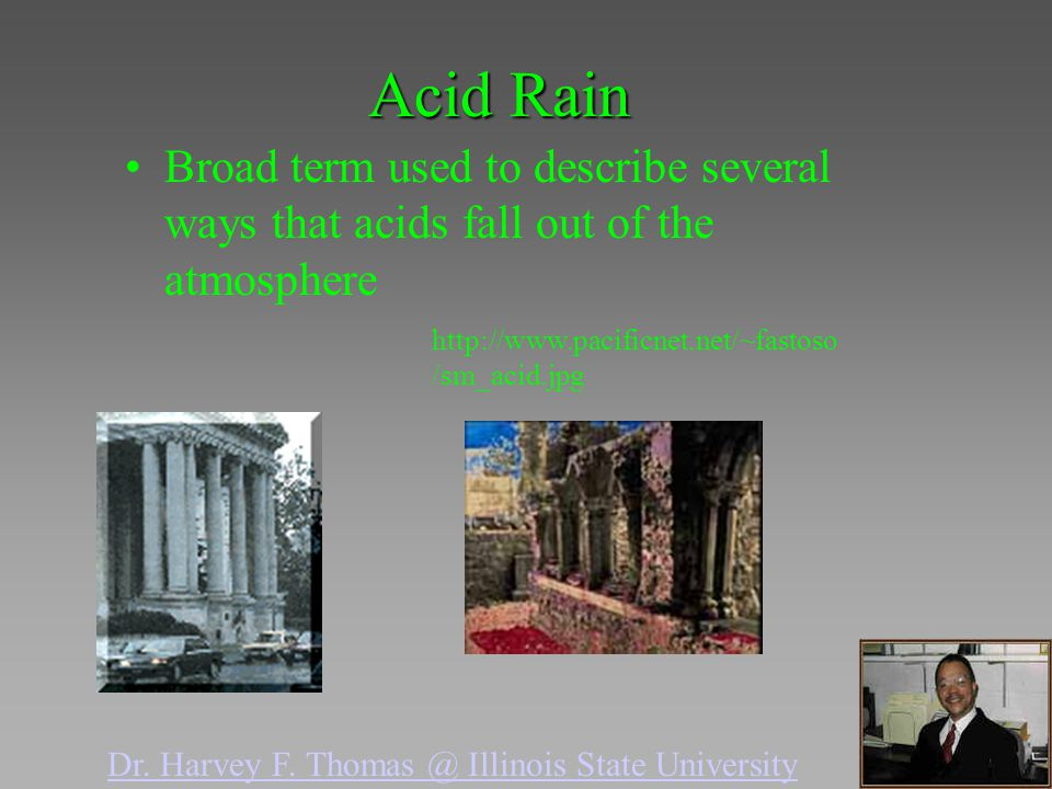 Acid Rain Broad term used to describe several ways that acids fall out of the atmosphere. http://www.pacificnet.net/~fastoso/sm_acid.jpg.