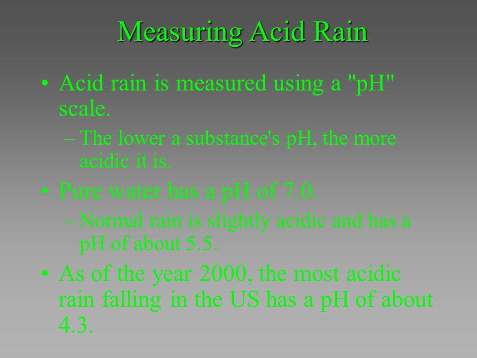 Measuring Acid Rain Acid rain is measured using a pH scale.