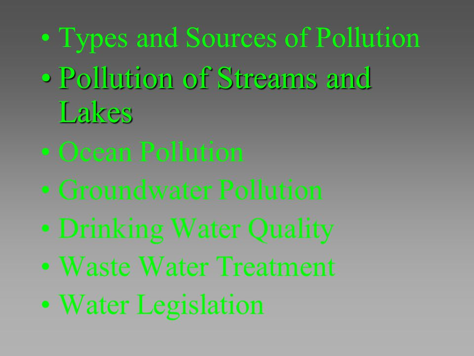 Pollution of Streams and Lakes