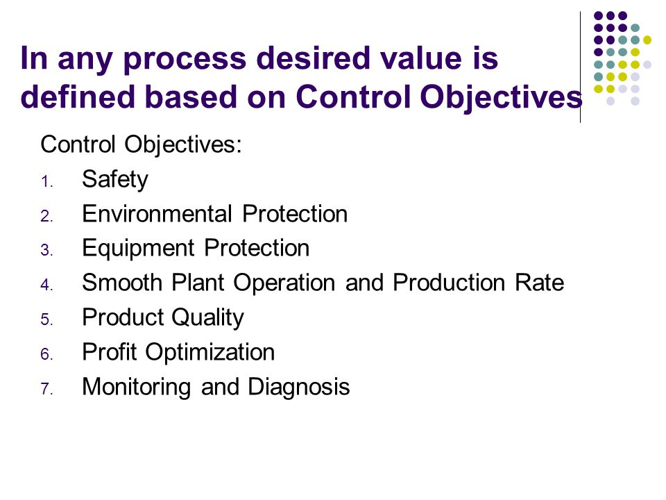 In any process desired value is defined based on Control Objectives