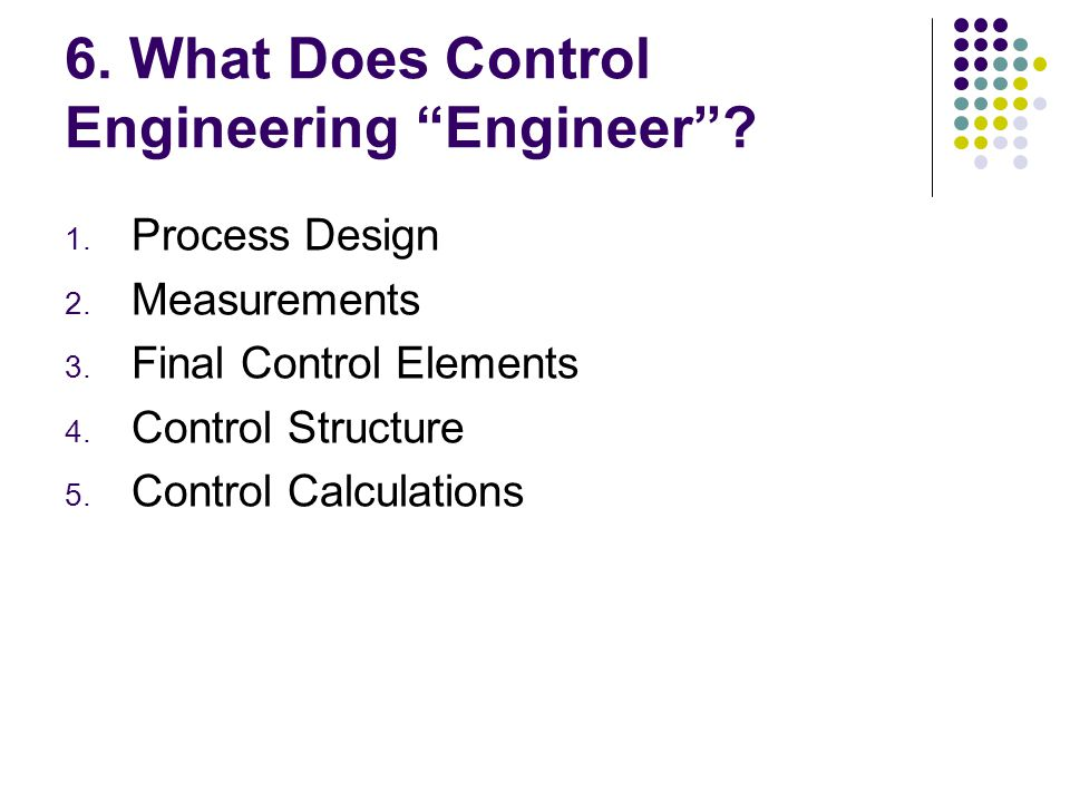 6. What Does Control Engineering Engineer