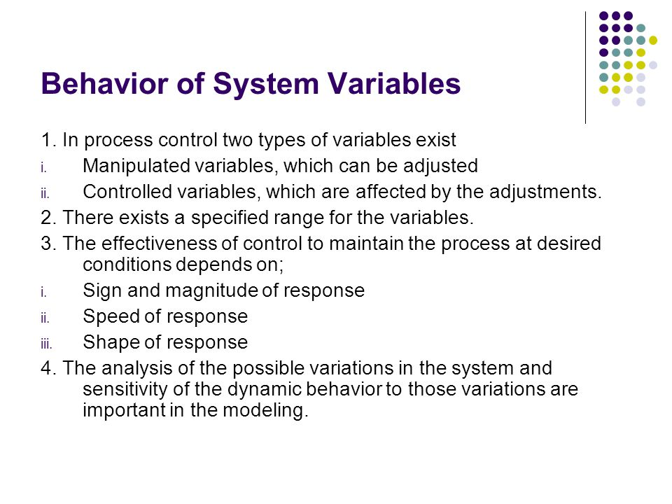 Behavior of System Variables