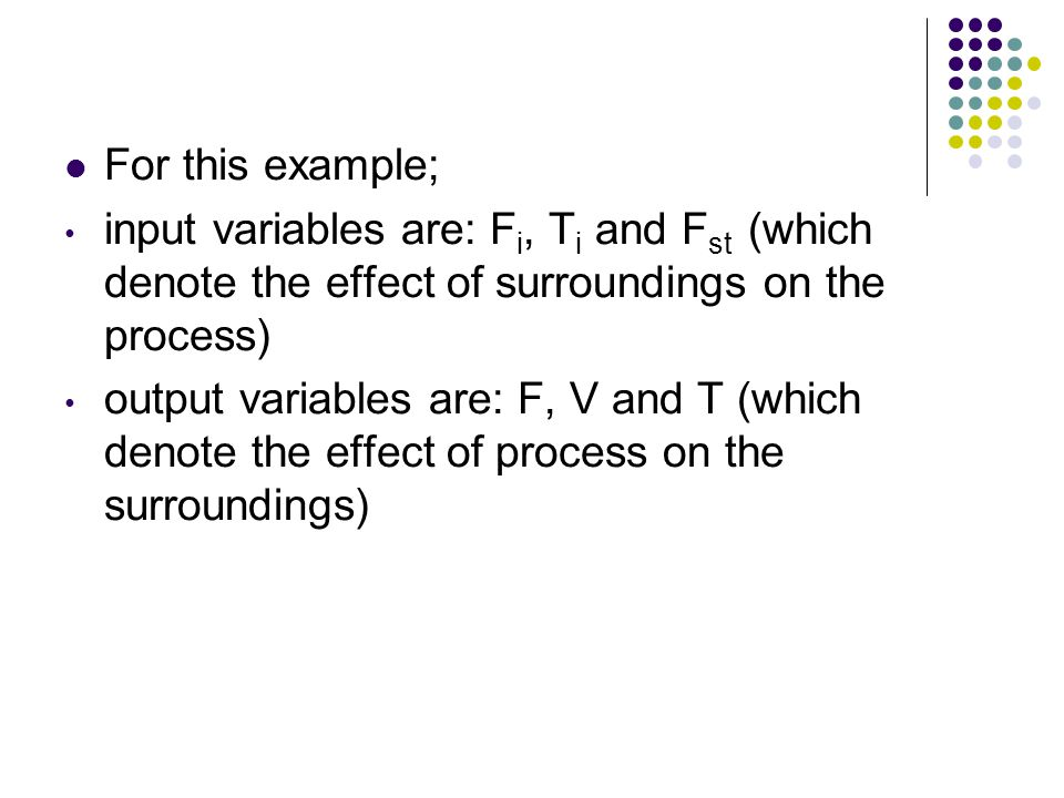 For this example; input variables are: Fi, Ti and Fst (which denote the effect of surroundings on the process)