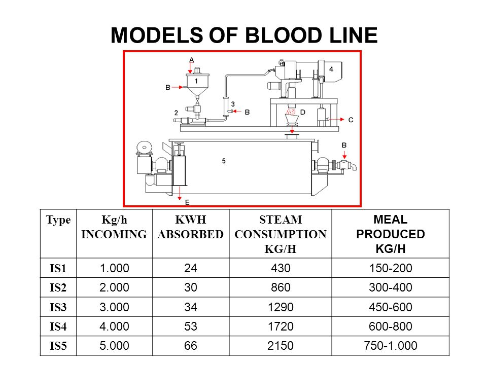 MODELS OF BLOOD LINE Type Kg/h INCOMING KWH ABSORBED STEAM CONSUMPTION