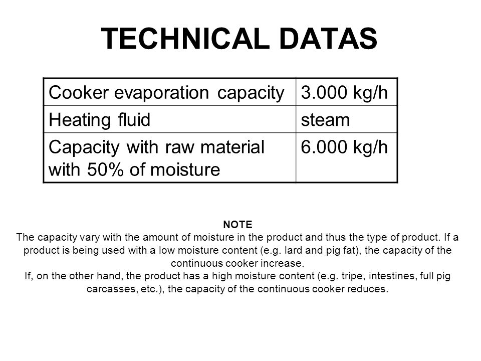 TECHNICAL DATAS Cooker evaporation capacity 3.000 kg/h Heating fluid