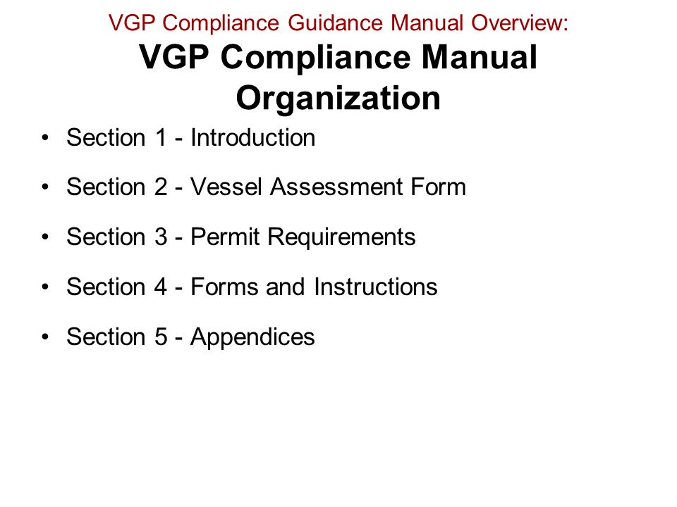 Section 1 - Introduction Section 2 - Vessel Assessment Form