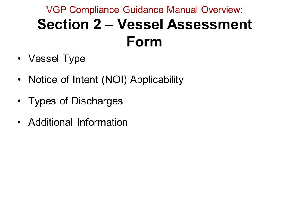Notice of Intent (NOI) Applicability Types of Discharges
