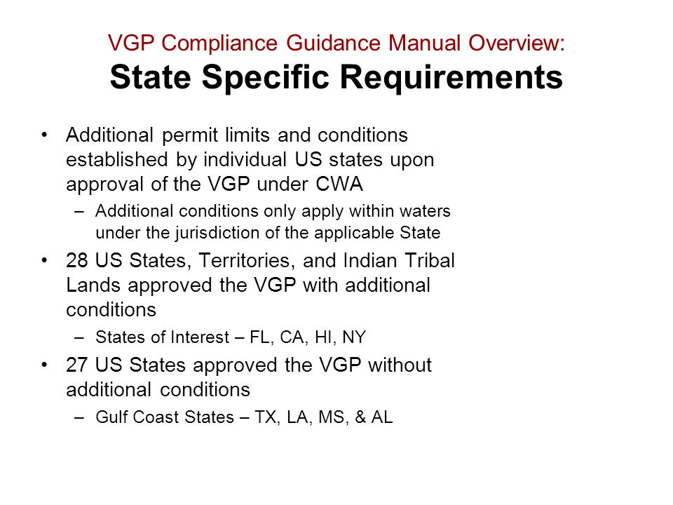 VGP Compliance Guidance Manual Overview: State Specific Requirements