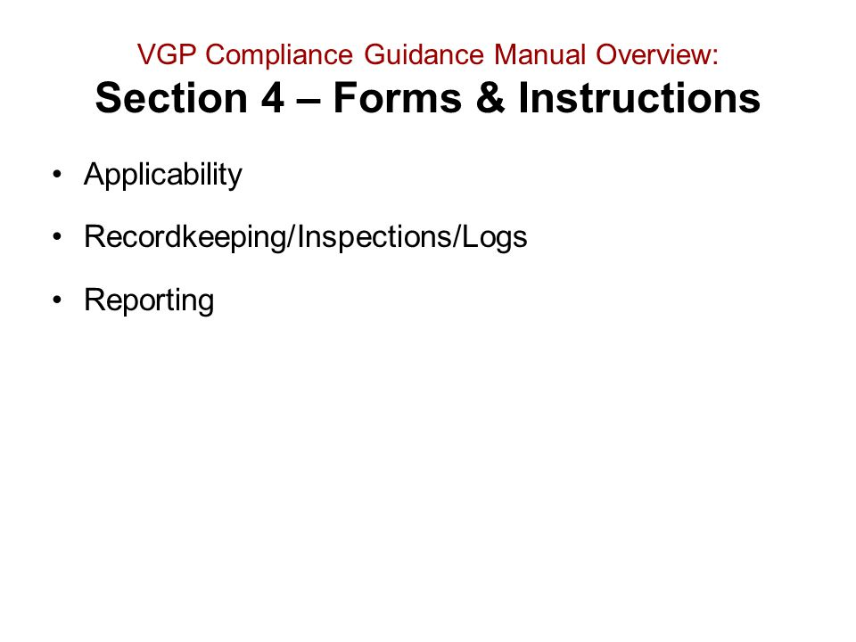 Recordkeeping/Inspections/Logs Reporting