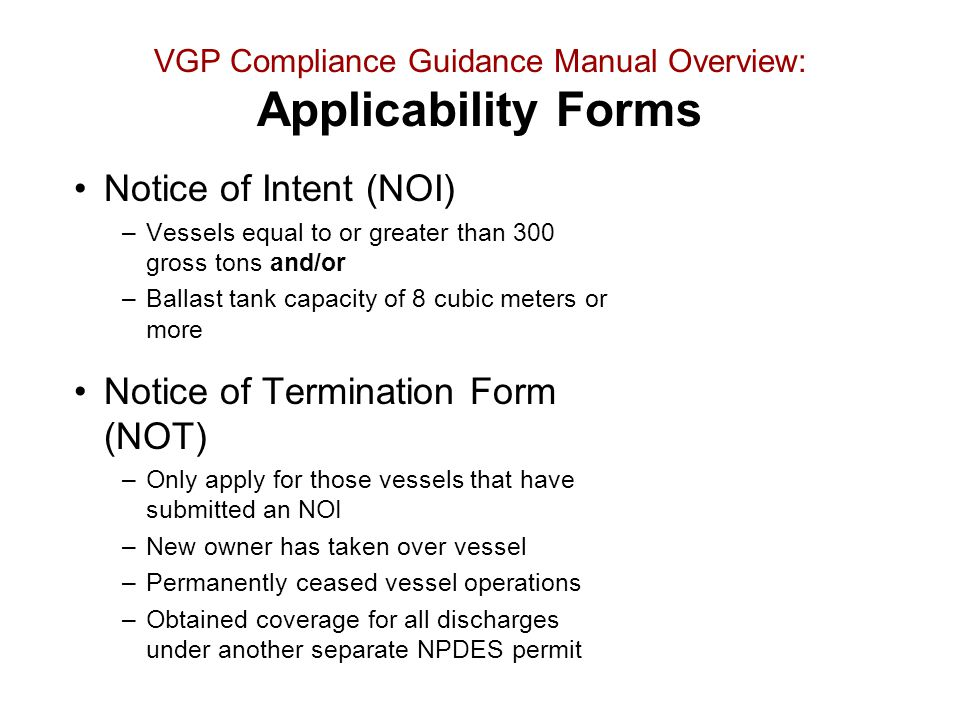 VGP Compliance Guidance Manual Overview: Applicability Forms